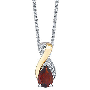 9ct Yellow Gold Silver Garnet & Diamond Pendant - Product number 3063526