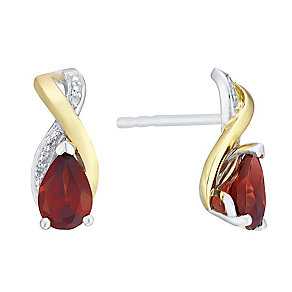 9ct Yellow Gold Silver Garnet & Diamond Earrings - Product number 3063534