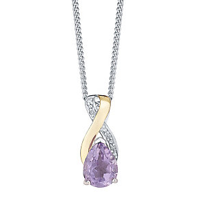Silver 9ct Yellow Gold Amethyst and Diamond Pendant - Product number 3063542