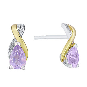 Silver 9ct Yellow Gold Amethyst and Diamond Earrings - Product number 3063550