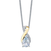 9ct Yellow Gold Silver and Diamond Aquamarine Pendant - Product number 3063577