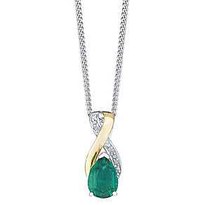 9ct Yellow Gold Silver and Created Emerald Pendant - Product number 3063593