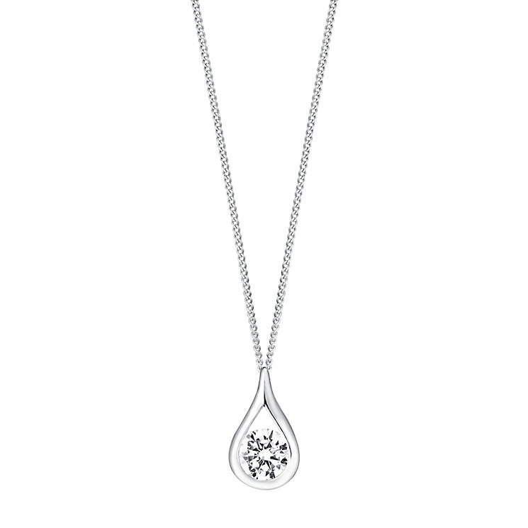 9ct white gold cubic zirconia teardrop rubover pendant - Product number 3063615