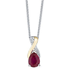 Sterling Silver & 9ct Gold Created Ruby & Diamond Pendant - Product number 3063658