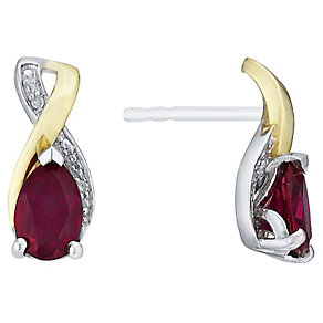 Silver & 9ct Gold Created Ruby & Diamond Stud Earrings - Product number 3063666