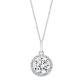 9ct white gold cubic zirconia vintage round pendant - Product number 3063844