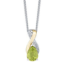Sterling Silver & 9ct Gold Peridot & Diamond Pendant - Product number 3064670