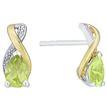 Sterling Silver & 9ct Gold Peridot & Diamond Stud Earrings - Product number 3064840
