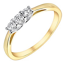 9ct gold & rhodium-plated three stone cubic zirconia ring - Product number 3064859