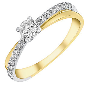 9ct gold & rhodium-plated cubic zirconia solitaire ring - Product number 3065022