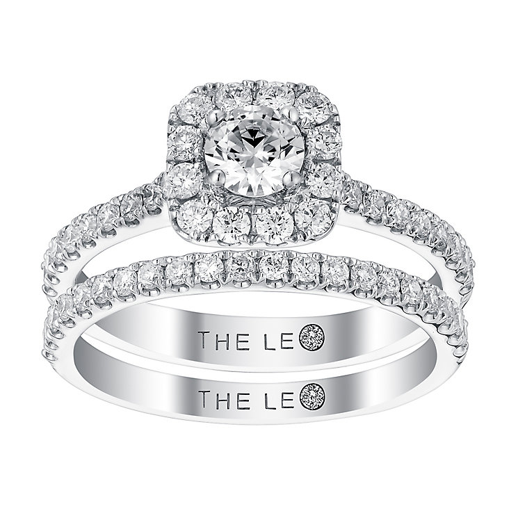 Leo Diamond 18ct white gold 1ct diamond bridal set - Product number 3065456