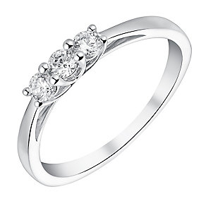9ct white gold three stone cubic zirconia ring - Product number 3065626