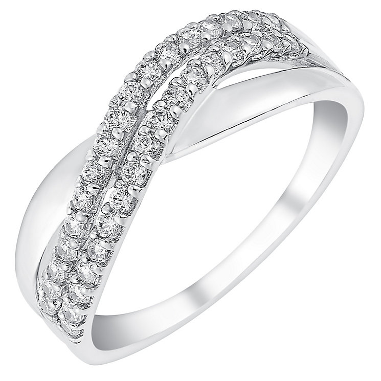 9ct white gold cubic zirconia wave band ring - Product number 3065804