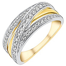 9ct yellow gold cubic zirconia crossover channel ring - Product number 3066339