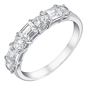 9ct white gold baguette & round cut cubic zirconia ring - Product number 3066673