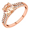 9ct rose gold simulated morganite & cubic zirconia ring - Product number 3067238