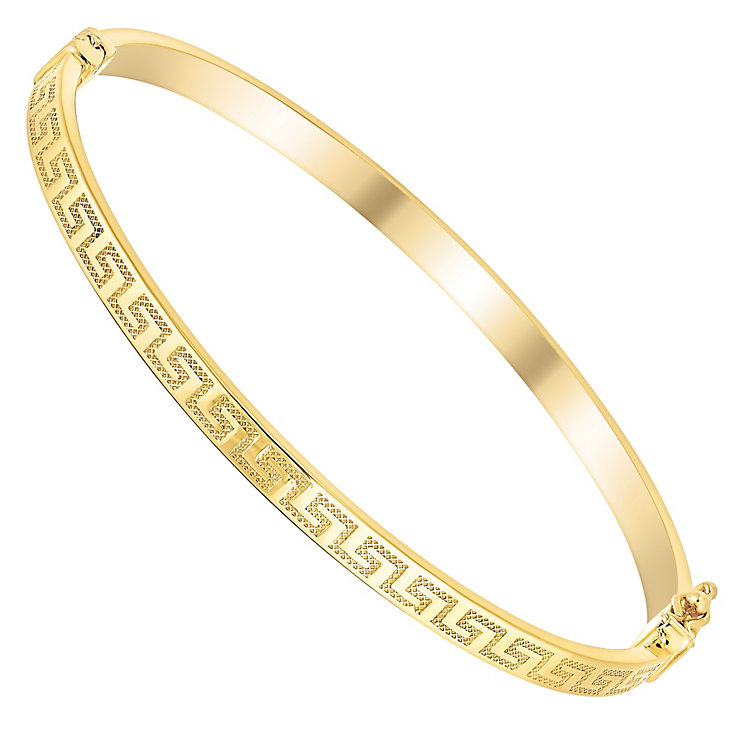 9ct gold greek key bangle - Product number 3068285