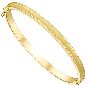 9ct gold satin polished bangle - Product number 3068323