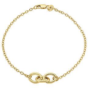 9ct gold trio oval link bracelet - Product number 3068528