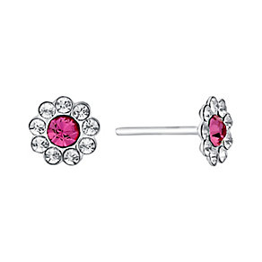 Children's Silver Pink & Clear Crystal Flower Stud Earrings - Product number 3070069