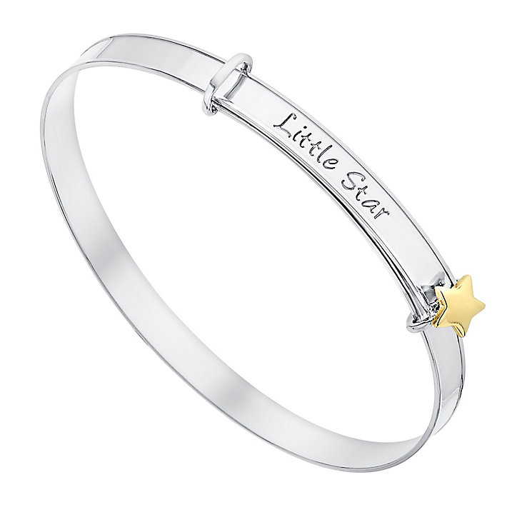 Children's Silver & 9ct Yellow Gold Little Star Bangle - Product number 3070883