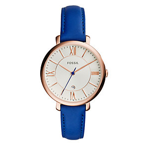 Fossil Ladies' Jacqueline Rose Gold Tone Blue Leather Watch - Product number 3070948