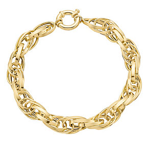9ct gold multi oval link bracelet - Product number 3070964