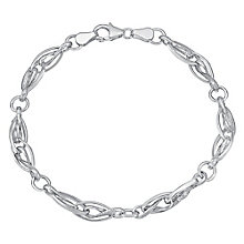 9ct white gold textured & polished link bracelet - Product number 3071022