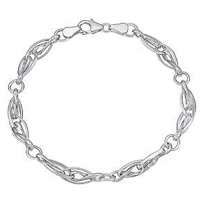 9ct white gold textured & polished link bracelet - Product number 3071022