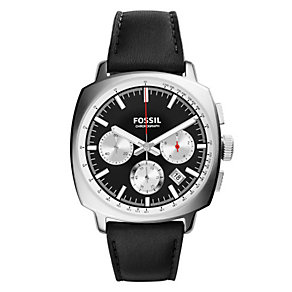 Fossil Men's Haywood Black Dial & Leather Strap Watch - Product number 3071316
