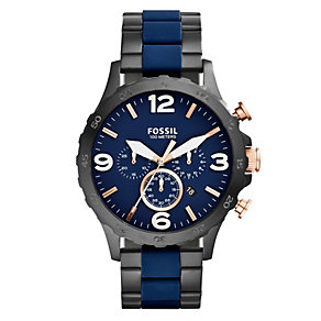 Fossil Men's Nate Navy & Black Bracelet Watch - Product number 3071340