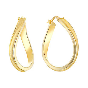 9ct yellow gold oval satin finished ridged creole earrings - Product number 3071618