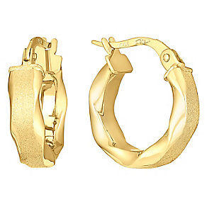 9ct gold satin finished small round creole earrings - Product number 3071634