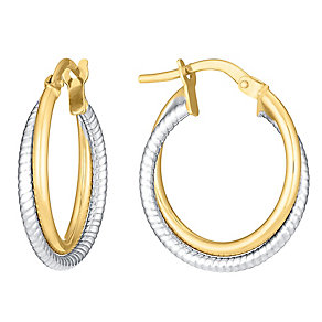 Two colour gold beaded and polished twist creole earrings - Product number 3071677
