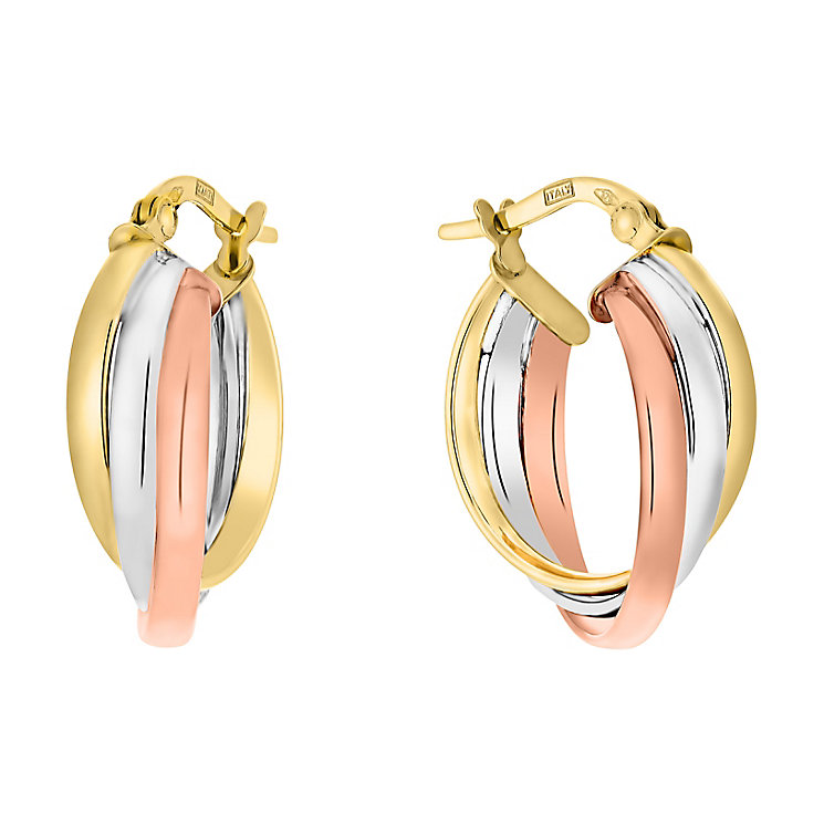 9ct yellow, white and rose gold round creole earrings - Product number 3071731
