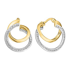 9ct gold & white gold cubic zirconia double creole earrings - Product number 3071839