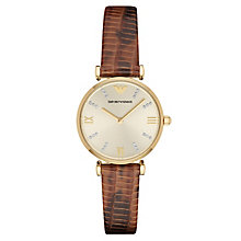 Emporio Armani Ladies' Champagne Leather Strap Watch - Product number 3071898