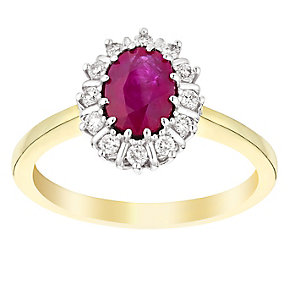 18ct yellow gold 15pt diamond & ruby ring - Product number 3071901