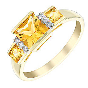 9ct yellow gold 4pt diamond and citrine ring - Product number 3072223
