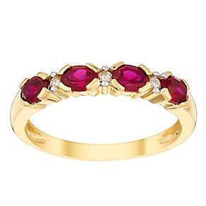 9ct yellow gold 4pt diamond & created ruby ring - Product number 3073416