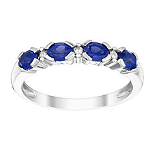 9ct white gold diamond & created sapphire ring - Product number 3073556