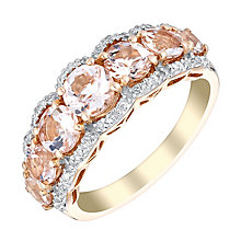 9ct rose gold morganite and 10pt diamond ring - Product number 3073866