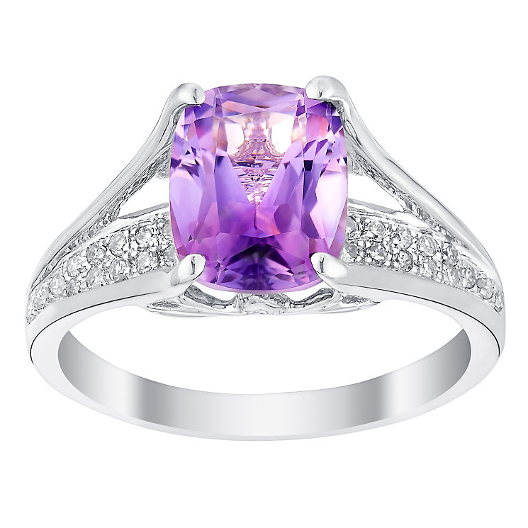 9ct white gold amethyst and 10pt diamond ring - Product number 3074358