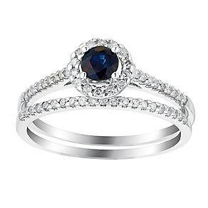 18ct white gold sapphire and 25pt diamond ring - Product number 3074676