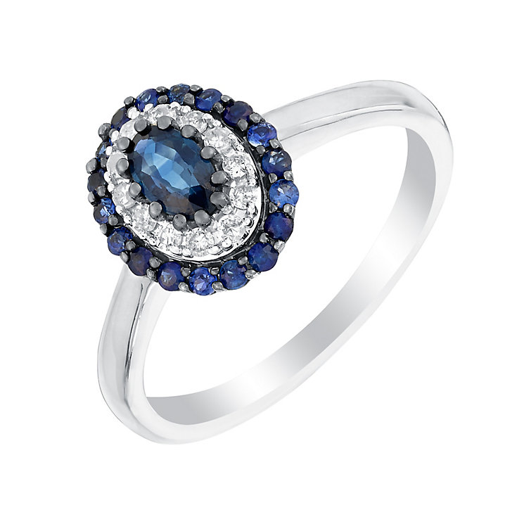 9ct white gold 10pt sapphire & diamond ring - Product number 3076202