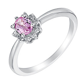 9ct white gold pink sapphire and diamond ring - Product number 3076385