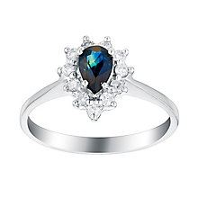 18ct white gold 15pt sapphire and diamond ring - Product number 3076539