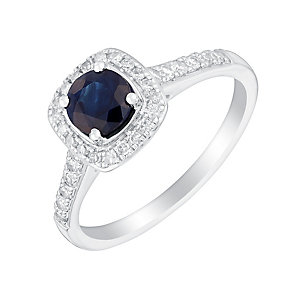 18ct white gold quarter carat sapphire and diamond ring - Product number 3076695