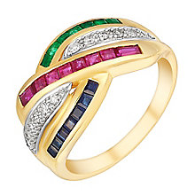 9ct yellow gold ruby, sapphire, emerald & 12pt diamond ring - Product number 3077608