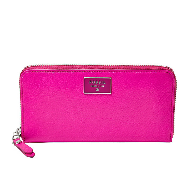 Fossil Dawson ladies' pink leather zip clutch bag - Product number 3077993